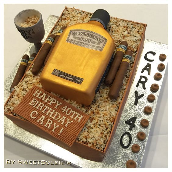 Gentleman Jack Whiskey Bottle Cake And Cohiba Cigar Cake