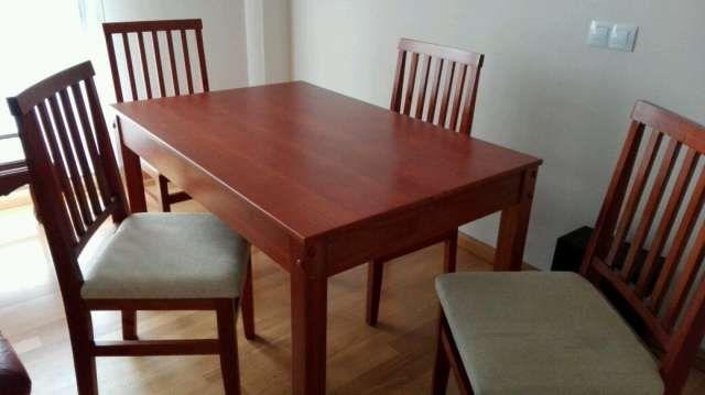 vendo mesa de comedor y cuatro silla ..poco uso numero de ...