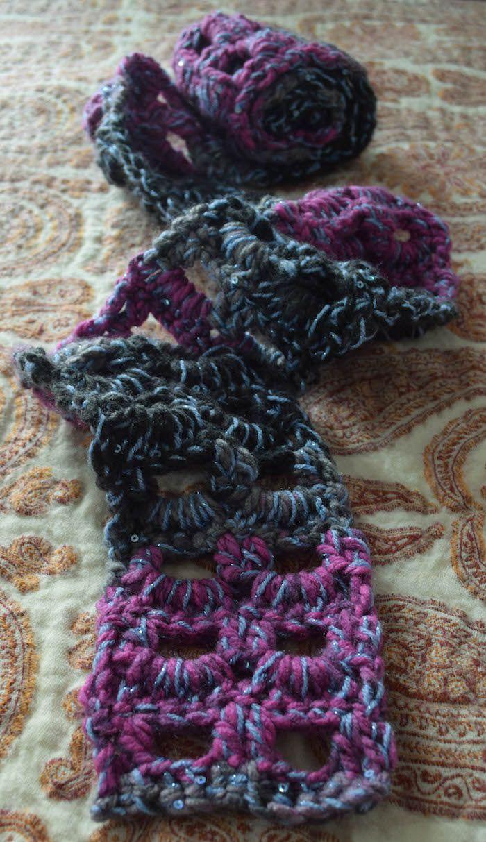 Free pattern: Glittery Accent Scarf | Super bulky yarn, Free crochet ...