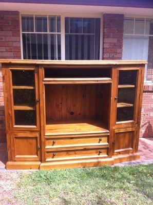 wooden timber entertainment unit storage cabinet solid tv stand