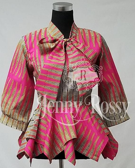 Elegant African Print Asymmetric Peplum Top Bow Neck Pink