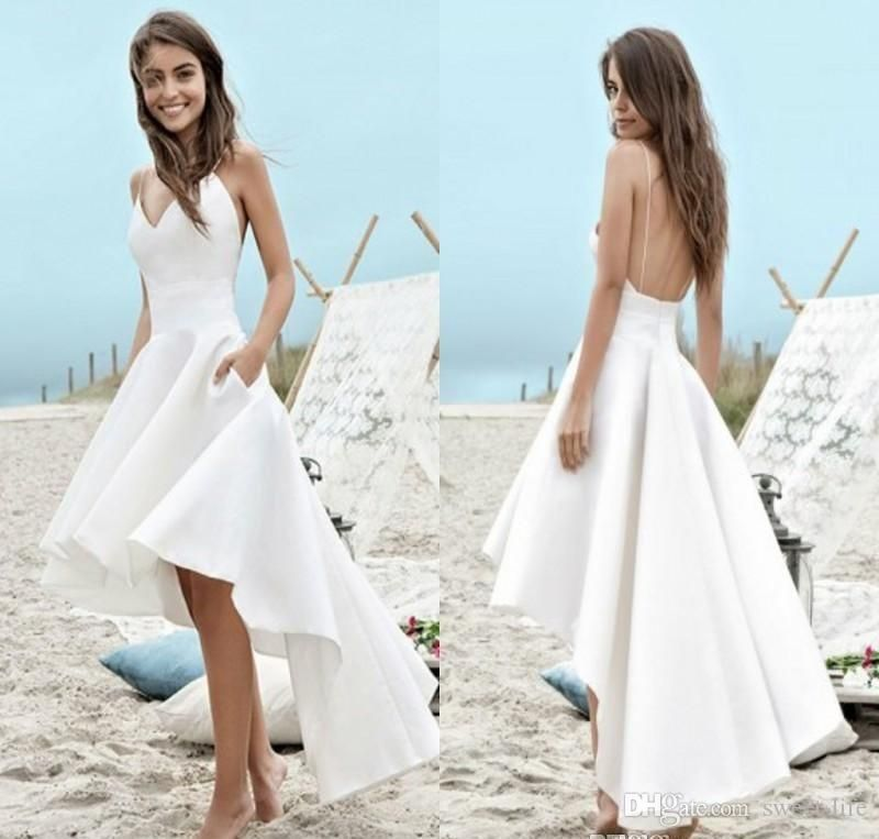 8e35902fc2f8 Discount Cheap Modest White Summer A Line Wedding Dresses 2019 A Line Beach Boho  Bridal High Low Backless Spaghetti Straps Tea Length Holiday Gowns Design  ...