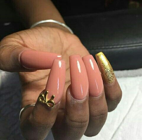 Hella Cute Peach and Gold Bow Tapered Square Nails. Pinterest: @PrettyAssRae