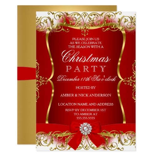 Red Gold White Damask Bow Christmas Party Invite Zazzle