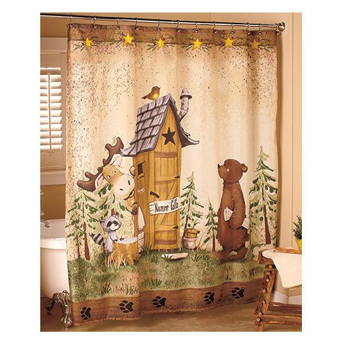 Bear Shower Curtain Moose Outhouse Fabric Bathroom Decor Country Bath Whimsical Outhouse Decor Country Bathroom Decor Bear Decor