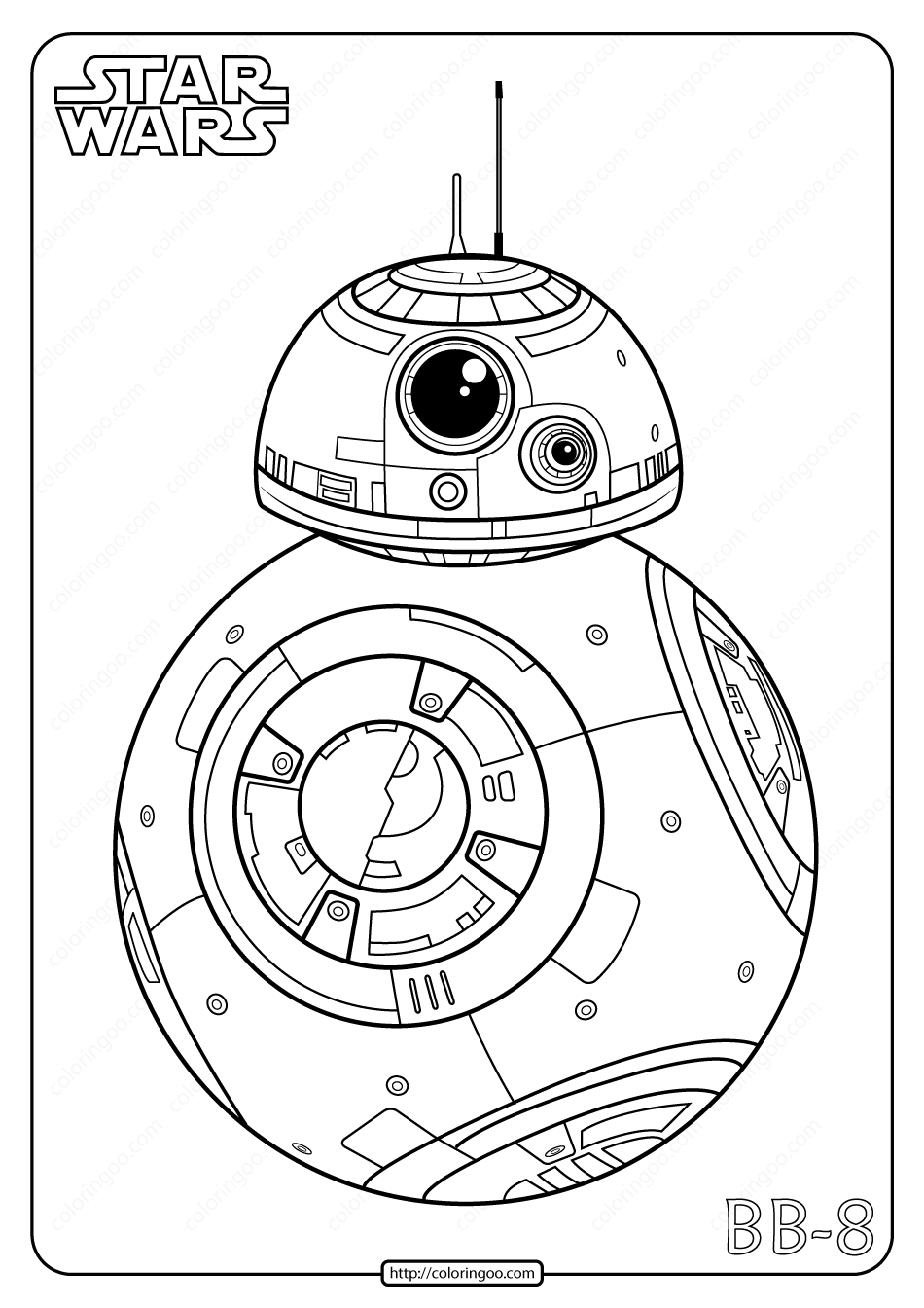 Printable Star Wars BB8 Coloring Pages - Star Wars Bb8 ...