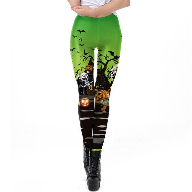 FCCEXIO Halloween Women Leggings Soft Elastic Workout Push Up Pants Gold Loong Print Fitness Leggings 3D Trousers Pumpkin Pants