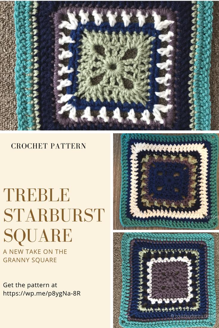 Treble Starburst Square Pattern   Häkeln
