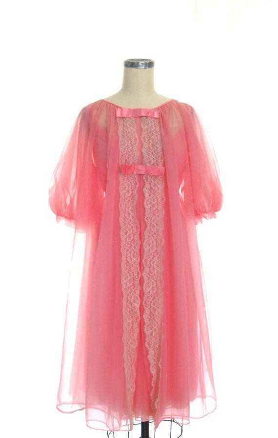 reserved ...1950s Peachy Pink Chiffon Peignoir Set by Shadowline ... 37623e8bd