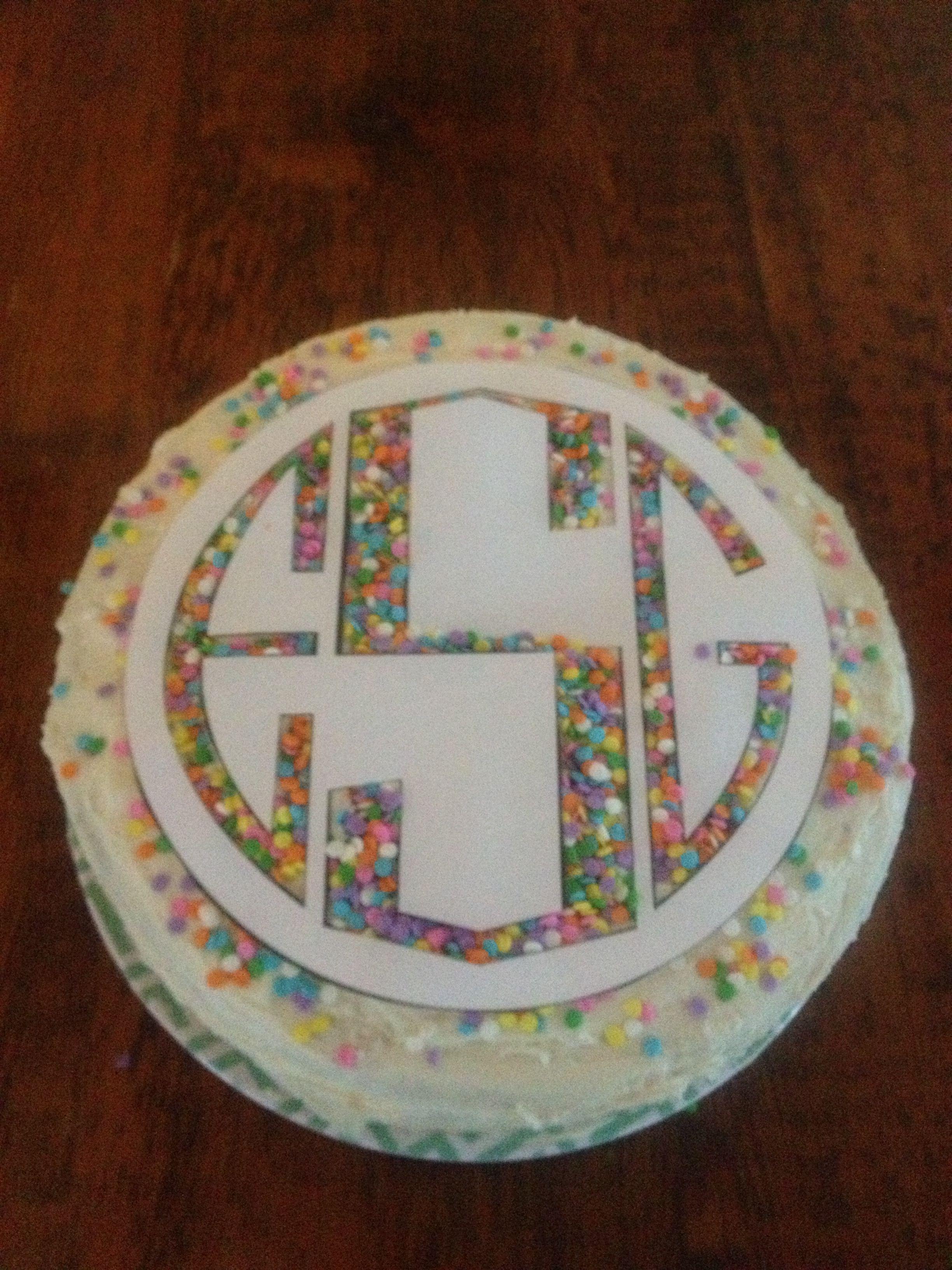 Ellas Monogramed DIY Birthday Cake Stencil I Love This Idea Would Edible Glitter