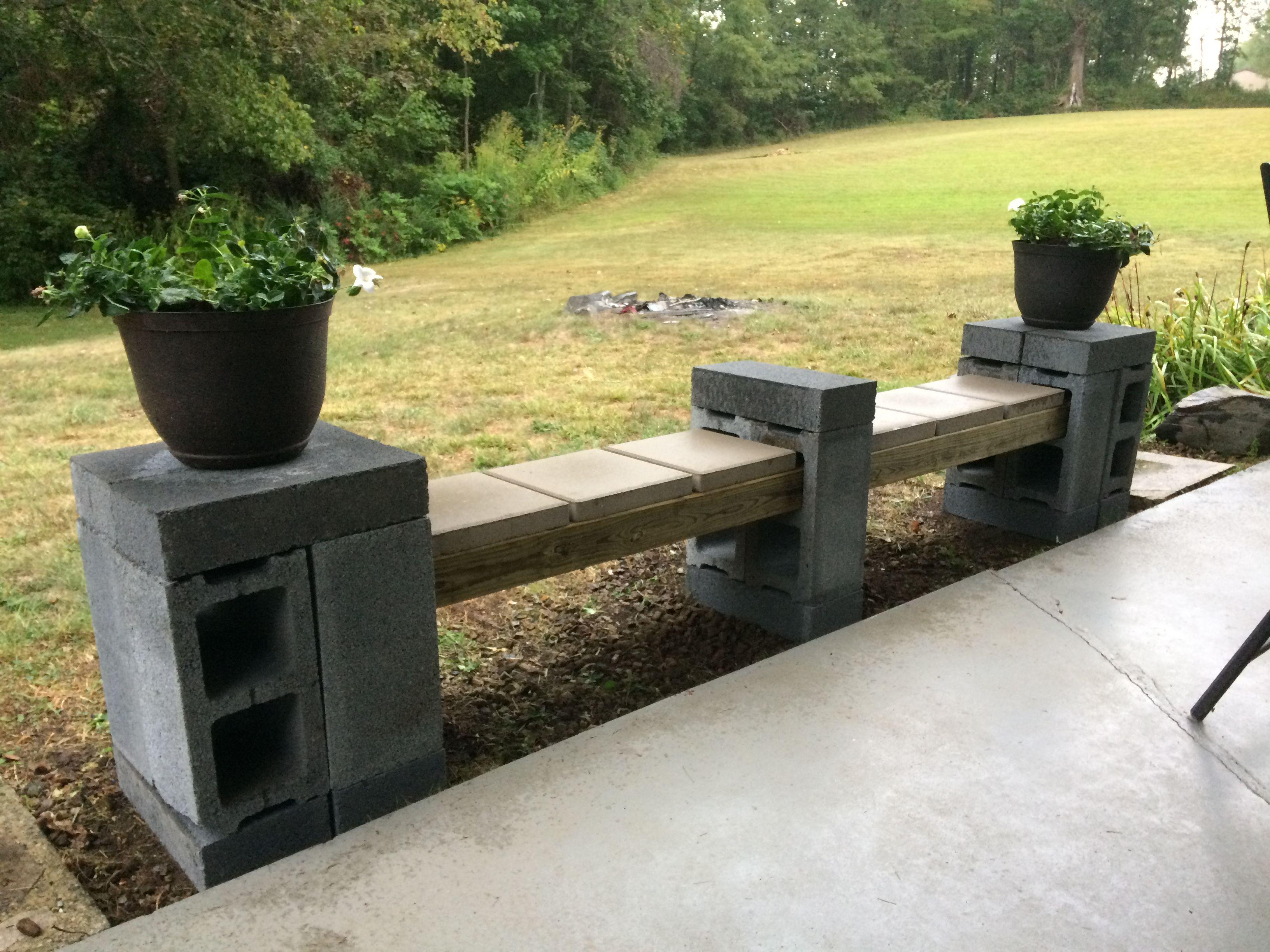 Cheap and easy cinder block bench!! 10 cinder blocks, 10 cap blocks ...