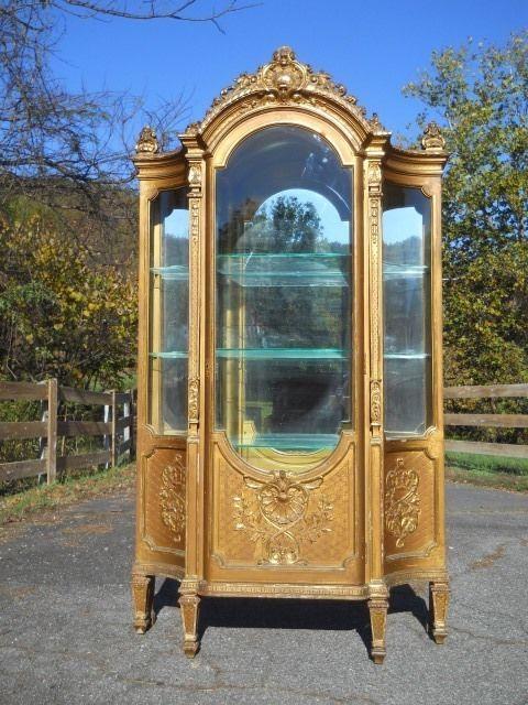 Large Antique French Gilt Vitrine / Curio Cabinet ~ Bowed Glass - Large Antique French Gilt Vitrine / Curio Cabinet ~ Bowed Glass