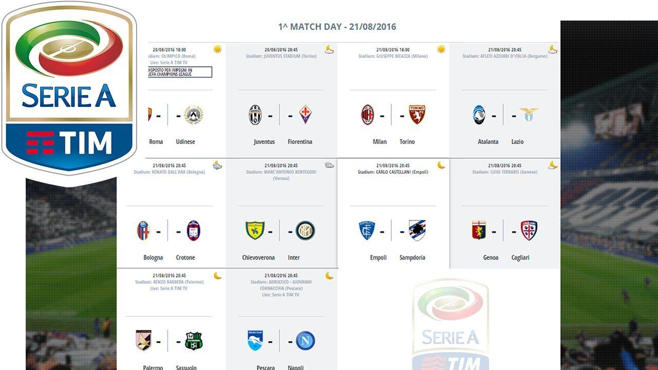 Serie A Calendario.Matchday 1 Fixtures Calendario 1 Giornata Serie A Tim 2016 17