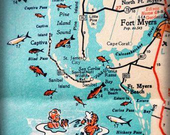 Fort Myers Beach Florida Map.Sanibel Island Fort Myers Beach Retro Beach Map Print Funky Vintage