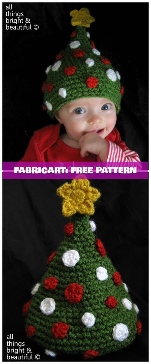Crochet Christmas Tree Beanie Hat Free Patterns Tutorials   Crochet christmas hats, Crochet ...