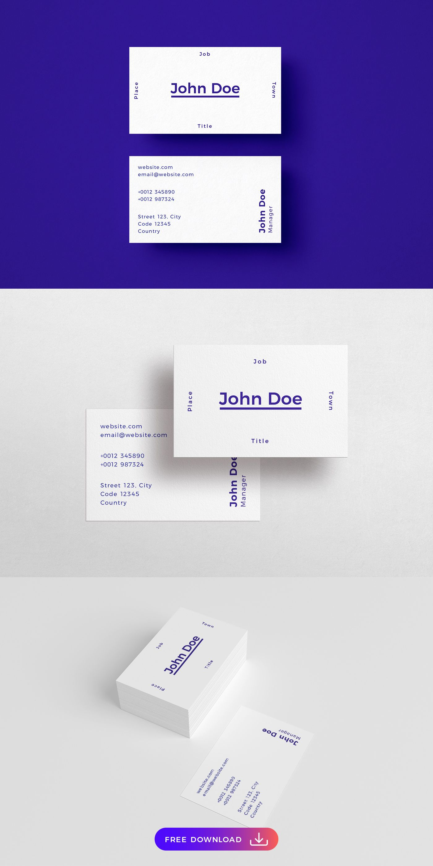 Free Minimalistic Business Card Template Business Card Template Free Business Card Templates Free Business Cards