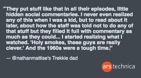 arstechnica: #StarTrek50 means grandfather dad nathanmattise  his 12-yr-old sis have all seen it O_o  https://t.co/ZTgMjFwwwM