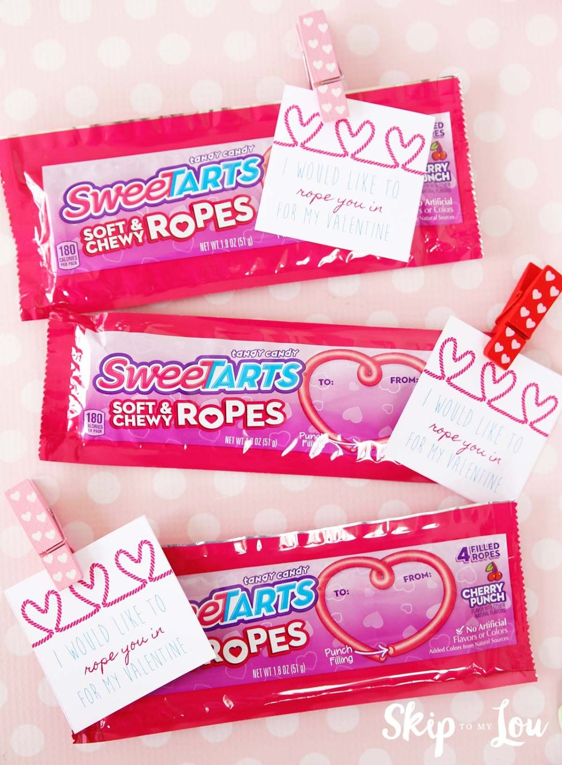 Sweetart ropes Valentine with free printable from Skip to My Lou