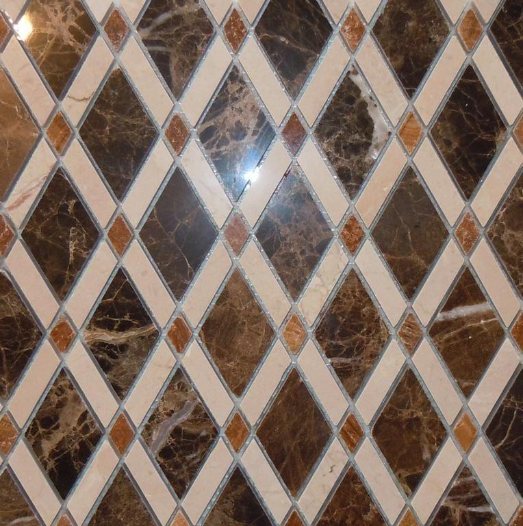 Lattice-Rhomboid-Diamond-Marble Mosaic Tile by Classic Tile