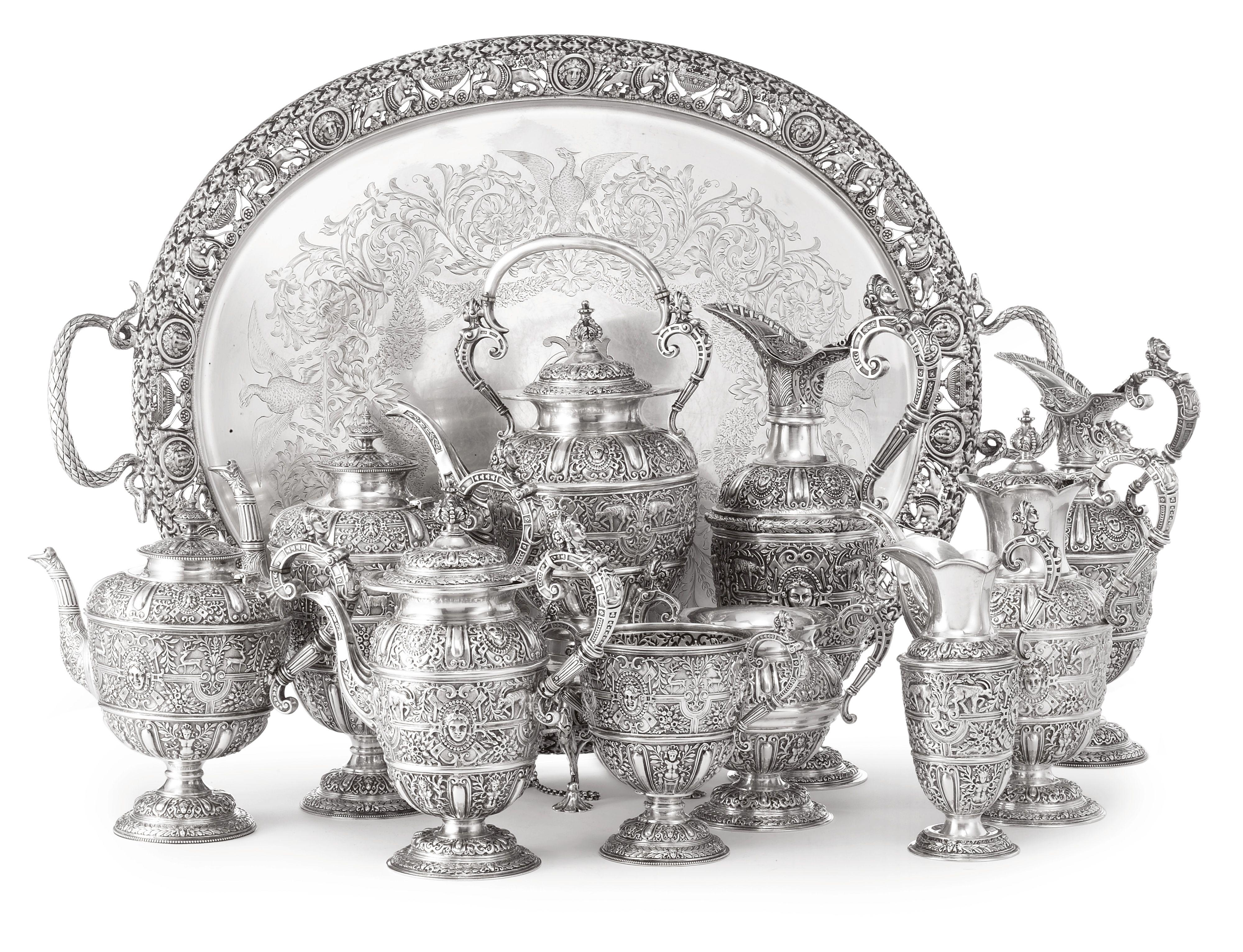 An Assembled Victorian and Edwardian Tenpiece Tea and