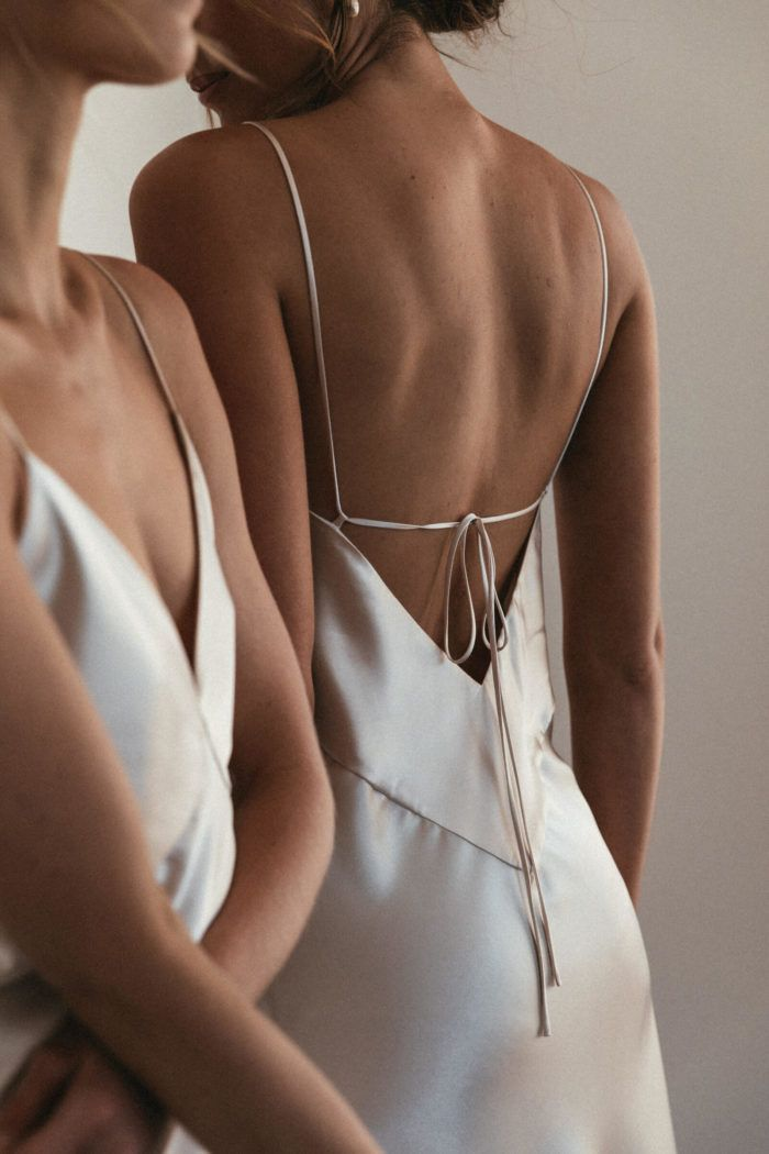 Fawning over these simple satin slip dresses ✨
