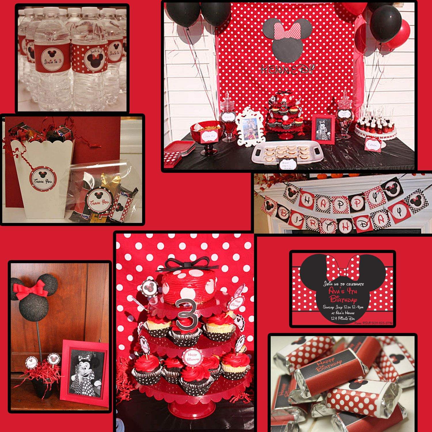 DIY Minnie Mouse Birthday Party PRINTABLE Deluxe Package Red black