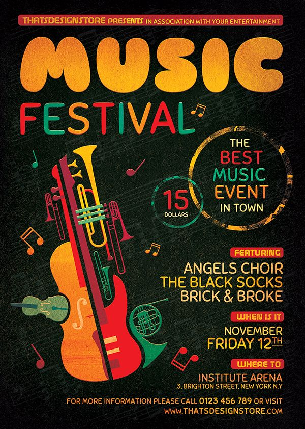 Music Festival Flyer Template V10 Flyer template, Template and - harmony flyer template