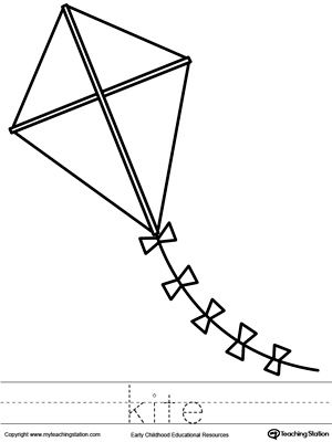 Kite Coloring Page and Word Tracing | More Tracing worksheets and ...