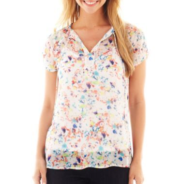 3576b8d682b2f5 Liz Claiborne Short-Sleeve Floral Peasant Blouse with Cami found at  @JCPenney