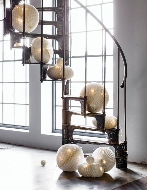 WE LOVE THESE GLOWING PAPER POM POMS IKEA Stylist Amanda re mends