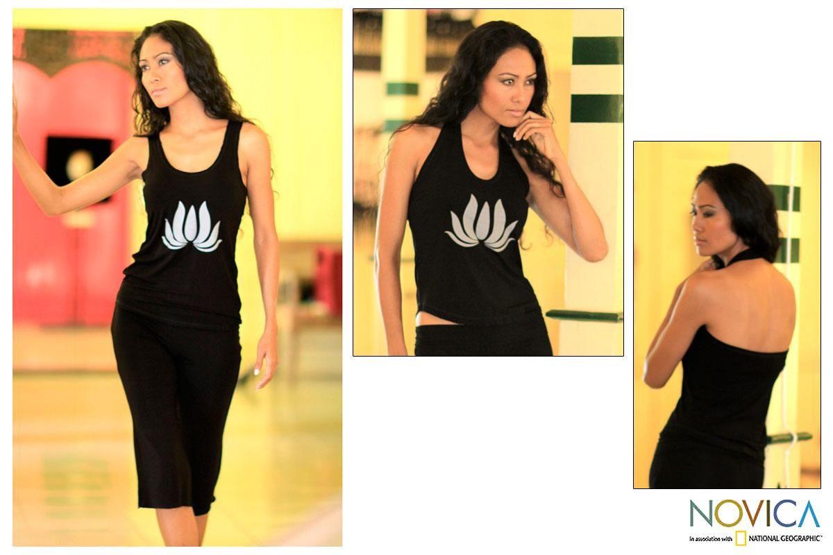 Novica Rayon 'Divine Lotus' Knit Halter Top