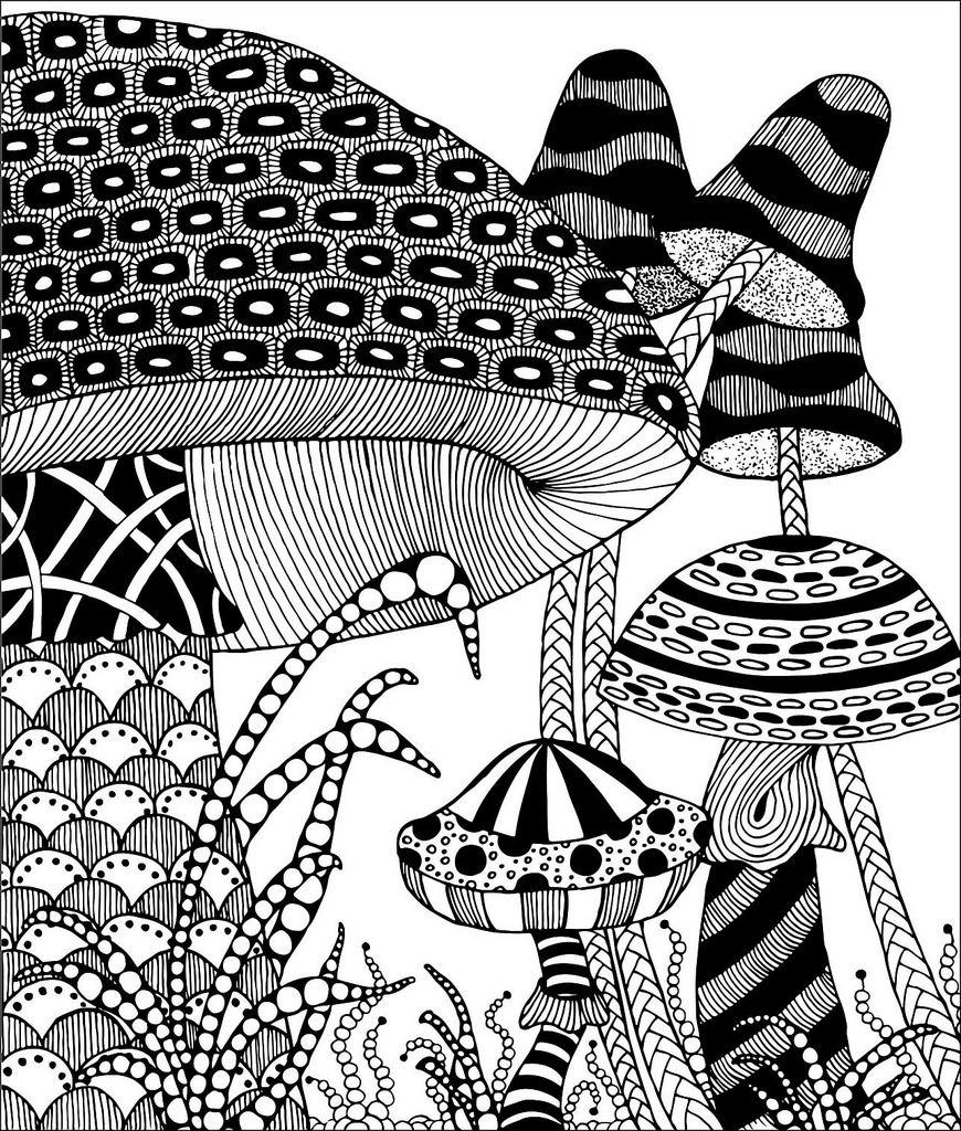 Zentangle Mushrooms | Zentangle, Mandalas y Dibujo