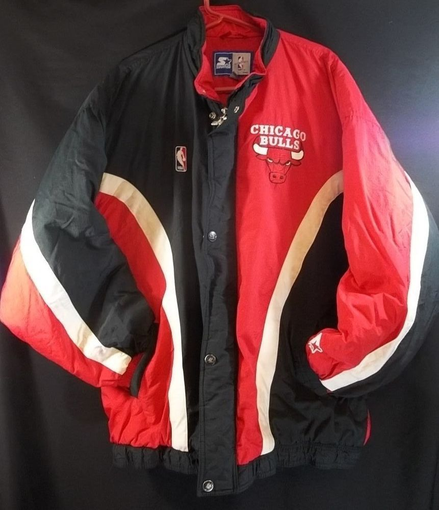 Vintage 90 S Chicago Bulls Starter Jacket Xl Full Zip Puffer Quilted Lining Jackets Retro Coat Athletic Apparel