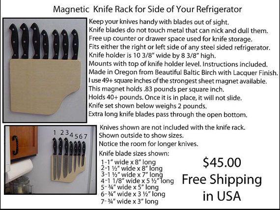 Magnetic Knife Rack for Side of Refrigerator. $45.00, via Etsy.