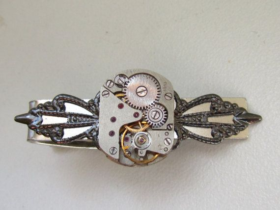 Steampunk Tie Clip with small vintage watch movement  by Timewatch, $29.00