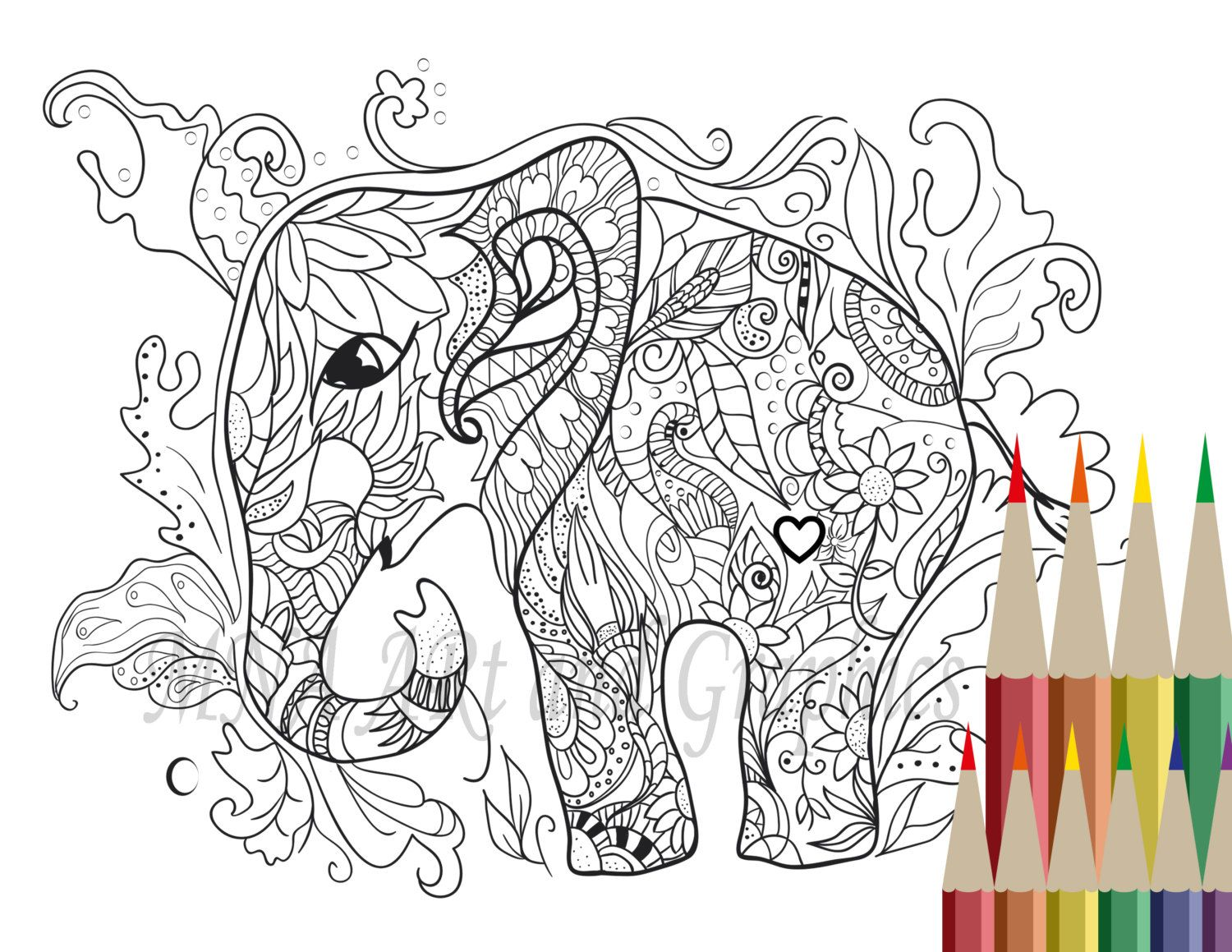 Elephant Coloring Page - Adult Coloring Page - Elephant Coloring ...