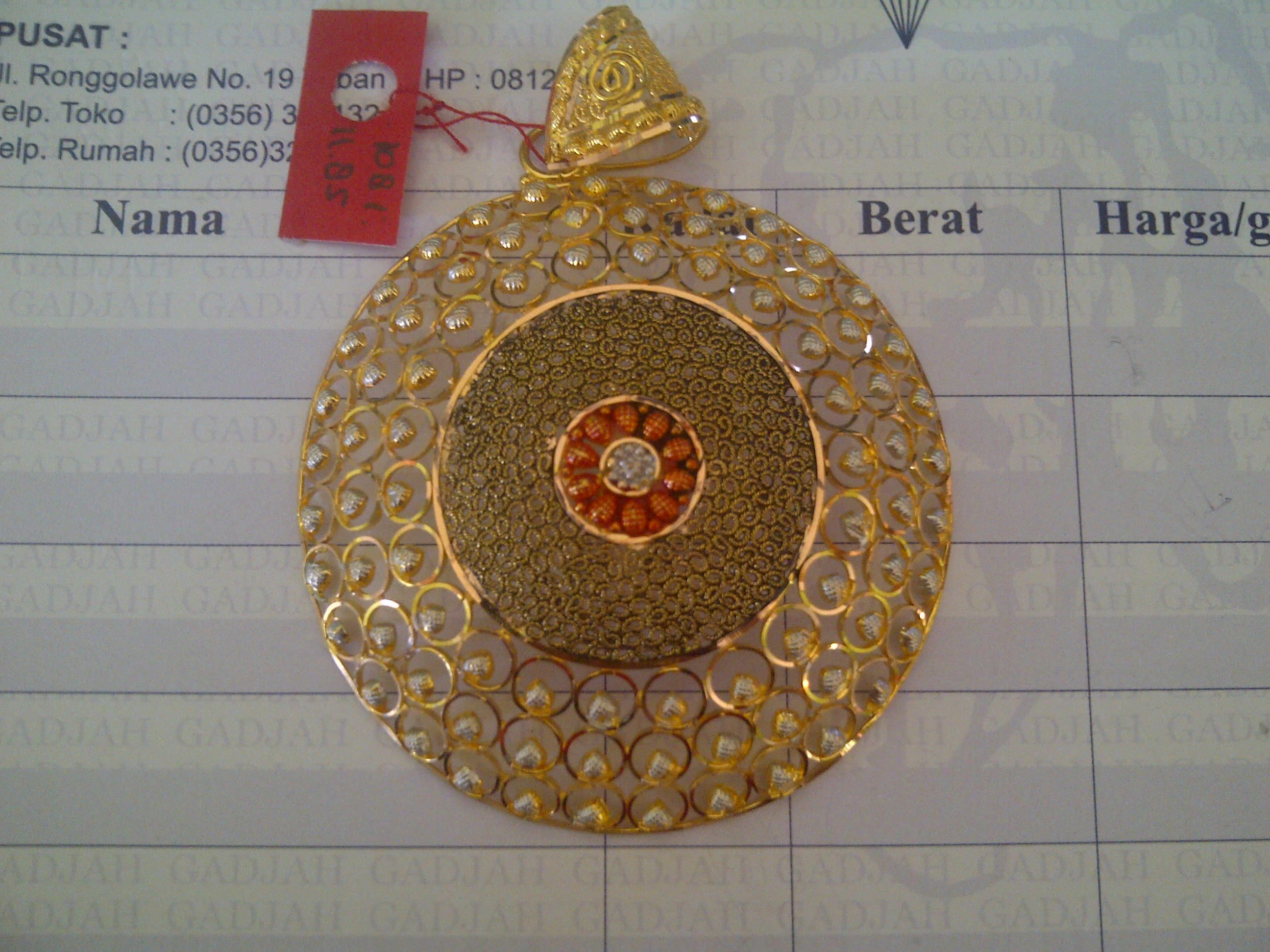 22k India Dubai Gold Large Round Pendant Mens Gold