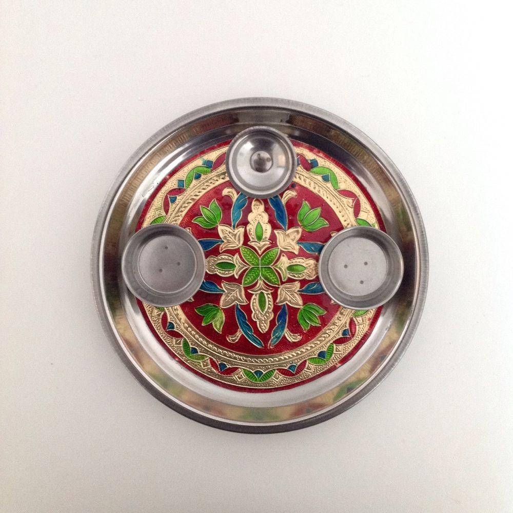 Colourful pattern hindu diwali aarti thali puja thali puja for Aarti dish decoration