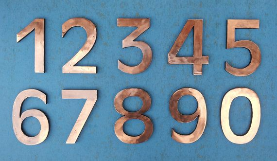 Large Architectural Floating Copper Numbers 12 305mm High With Some Discreet Seams Antigoni Font D Copper House House Numbers Modern House Number