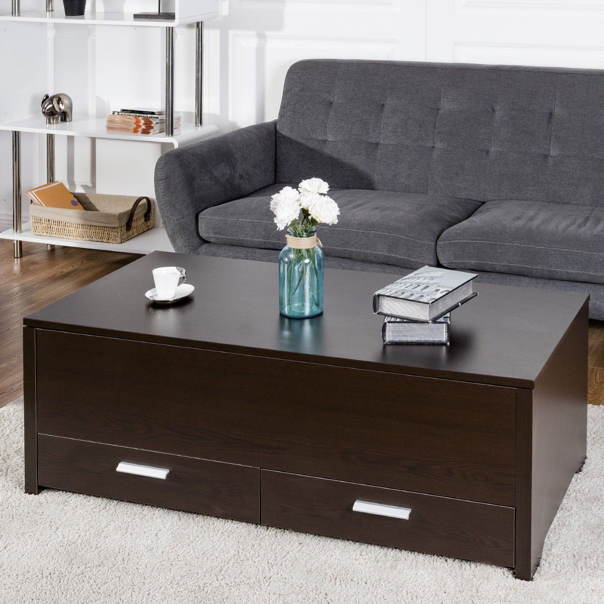 Sliding Top Trunk Coffee Table With Hidden Compartment 2 Drawers Coffee Table Trunk Latest Coffee Tables Coffee Table [ 1200 x 1200 Pixel ]