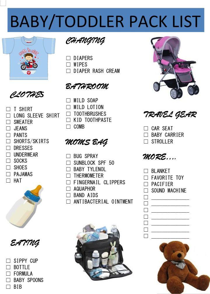 Baby Toddler printable pack list | Printables | Pinterest | Pack list