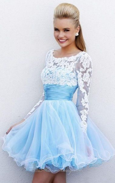 Cocktail dress for prom night with sleeves - Long sleeve Applique ...