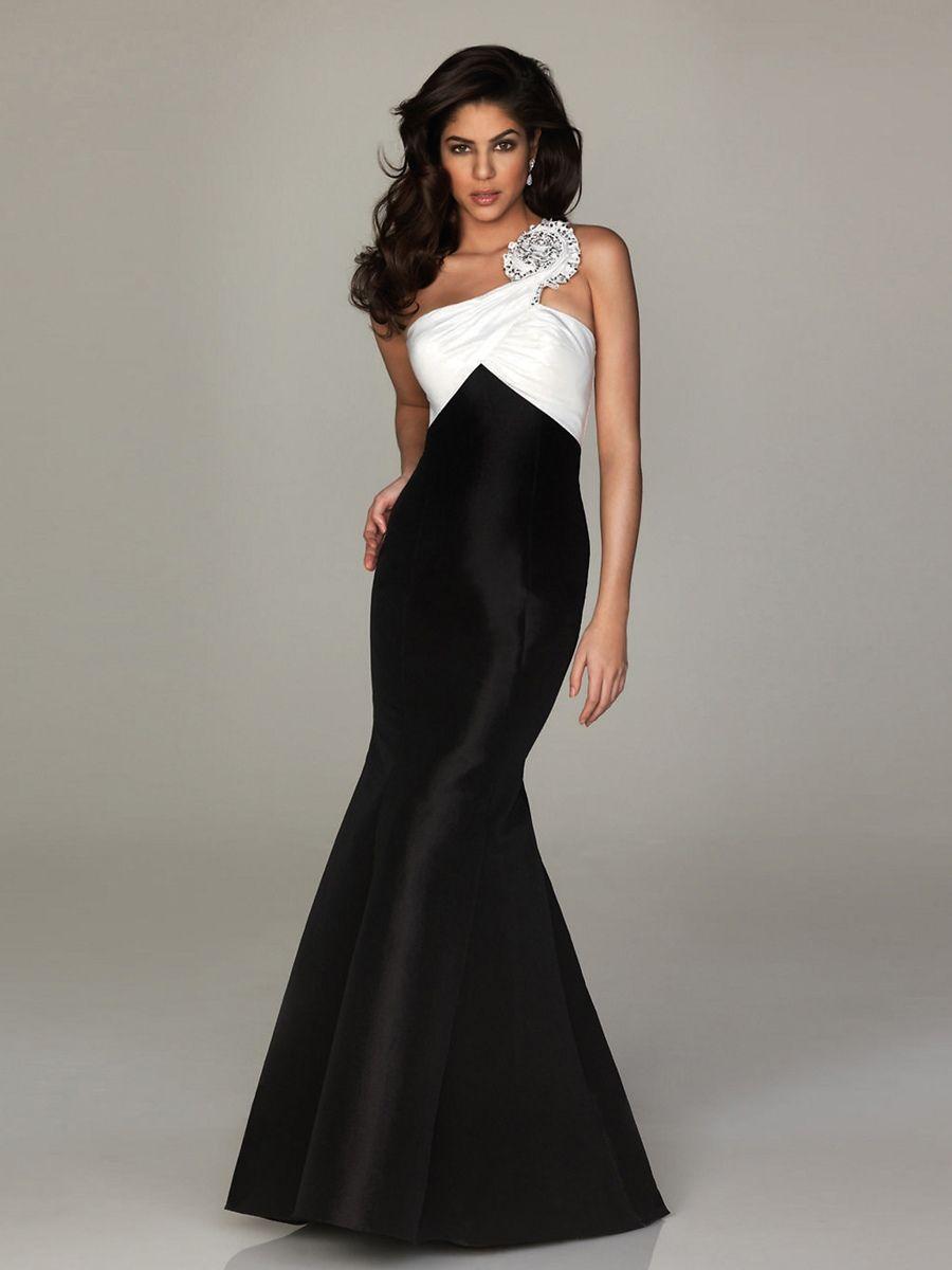 Hot Design One Shoulder With Big Flower White And Black Taffeta ...