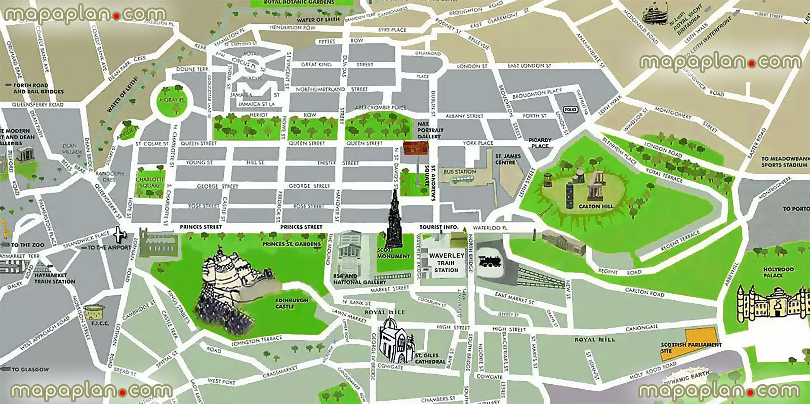 Edinburgh City Centre Map simple easy navigate 3d aerial graphical satellite view edinburgh