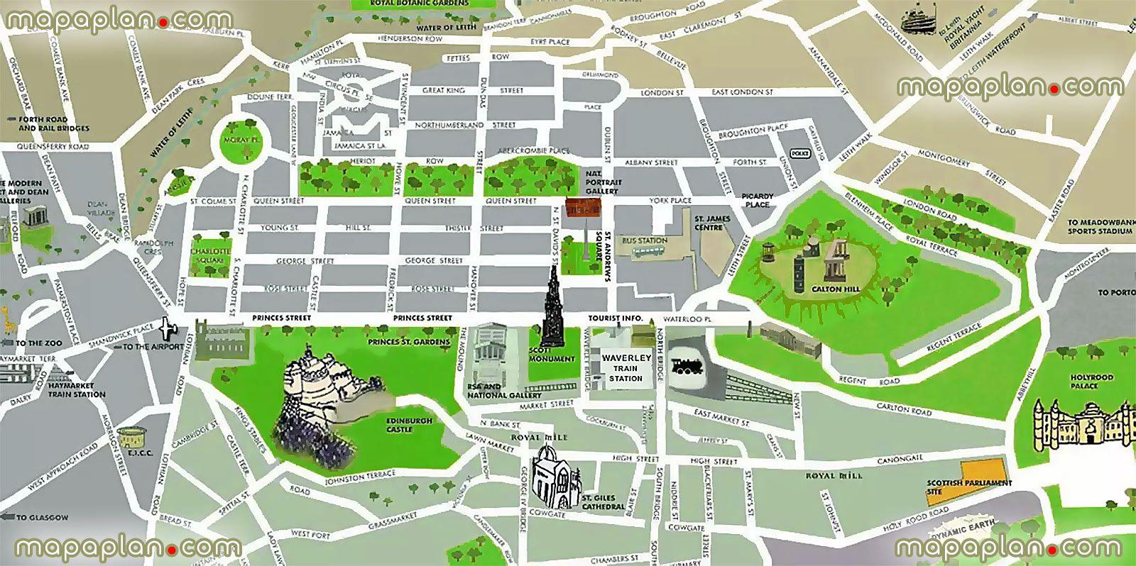 1000 images about Edinburgh printable map of top tourist – Edinburgh Tourist Map