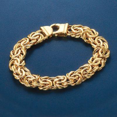 7d93d570653866 Italian 14kt Yellow Gold Wide Byzantine Bracelet — Alt Image 3 ...