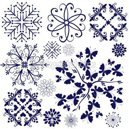 Коллекция фиолетовый снежинки