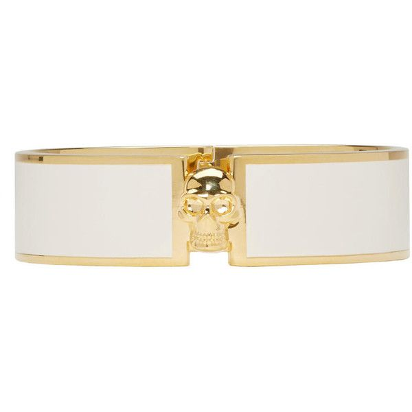 Alexander Mcqueen White and Gold Skull Bracelet (2.375 NOK) ❤ liked on Polyvore featuring jewelry, bracelets, bracelets & bangles, white bangle, white gold bangle, gold hinged bangle and gold hinged bracelet