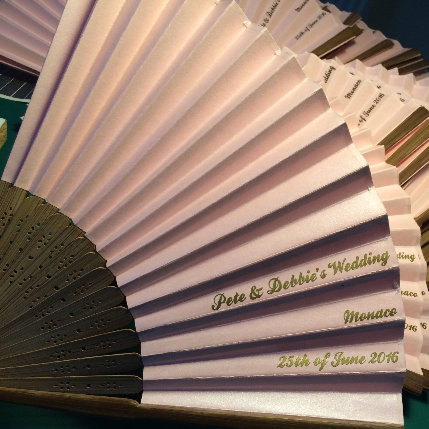 Personalised Wedding Fans 5 Fan Min Order Layout Shown Ships Worldwide Contact For Shipping Quote Not Free