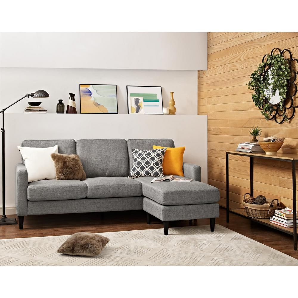 Jenny Contemporary 1 Piece Gray Sectional Dorel Living Grey Sectional Sofa Sectional Sofa